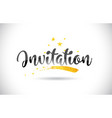 invitation word text with golden stars trail and vector image