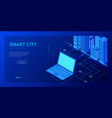 isometric modern city concept website template vector image vector image