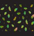 leaves seamless pattern on black background vector image vector image