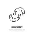 Leech therapy line icon hirudotherapy flat vector image