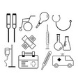 line icons set of hospital and medical care vector image vector image