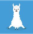 llama alpaca sitting cute cartoon funny kawaii vector image