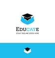 logo of cat in graduation hat vector image vector image