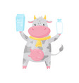 lovely spotted cow with bottle and paper box of vector image vector image