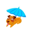 Puppy Sweating Under Umbrella On The Beach vector image vector image