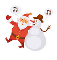 santa and snowman singing christmas song cartoon vector image