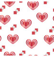 seamless pattern with red hearts - valentines day vector image