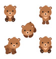 set cute cartoon bears in modern simple flat vector image