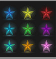 set of 9 glowing stars on a black background vector image vector image