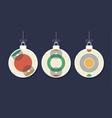 set of decorative modern art christmas balls vector image vector image