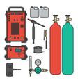 set of gas welding argon machine with regulator vector image
