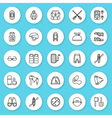 Set of line icon rafting kayaking equipment vector image