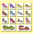 set of womens shoes flat design hand drawn vector image vector image