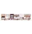 small urban street with cafes and shops vector image