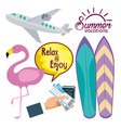 summer holidays set icons vector image vector image