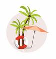 summer vacation umbrella and palm tree icon vector image vector image