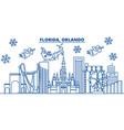 usa florida orlando winter city skyline merry vector image vector image