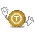 waving tether coin character cartoon vector image vector image