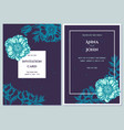 wedding invitation card with blue poppy flower vector image