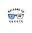 welcome to greece icon paradise on sunglasses vector image