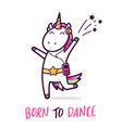 cute dancing unicorn cartoon vector image