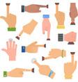 Hands push buttons set vector image