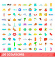 100 ocean icons set cartoon style vector image vector image