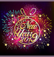 2019 happy new year greeting card with colorful vector image