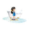 A girl combing her long black hair vector image vector image