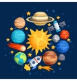 Background of solar system planets and celestial