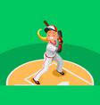 baseball girl mascot poster vector image vector image