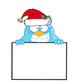 Blue Bird With Santa Hat Presenting A Blank Sign vector image