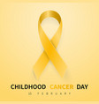childhood cancer day symbol 15 february yellow vector image vector image