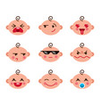 cute baby cartoon flat icons set of emoji smiley vector image