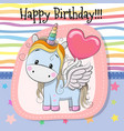 cute cartoon unicorn with balloon vector image vector image