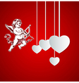 Decorative red background with Cupid vector image vector image