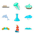 deep icons set cartoon style vector image