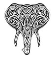 elephant head ornamented as ethnic style tattoo vector image