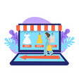 female character on online shopping using laptop vector image vector image