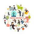 flat money and cash round concept vector image vector image