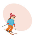 funny girl skiing downhill with place for text vector image vector image