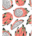 hand drawn set of tropical fruit and text vector image