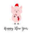 happy new year 2019 pig holding candy cane sock vector image