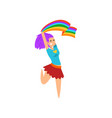 happy woman jumping joyfully waving rainbow lgbt vector image vector image