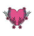 heart love with wreath flowers valentines card vector image vector image
