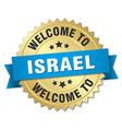 Israel 3d gold badge with blue ribbon vector image vector image