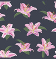 lily flower seamless pattern on blue background vector image vector image