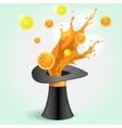 Magic hat whith orange Juice Splash vector image vector image