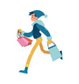 man with colorful shopping vector image vector image