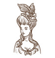 medieval woman in dress with feathers in head and vector image vector image